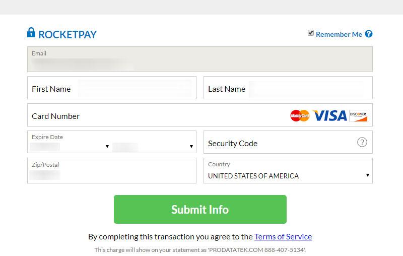 Fling.com payment form